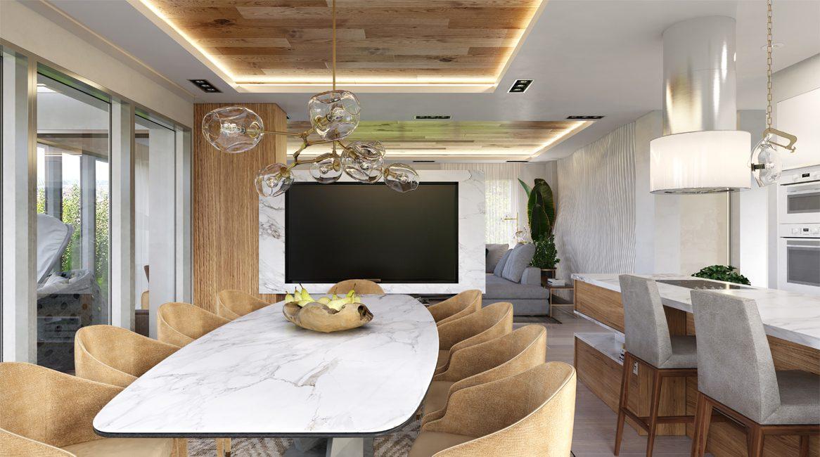 дизайн столовой в современном стиле загородный дом